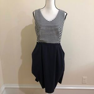 Boden | Mixed Media Navy and white striped dress